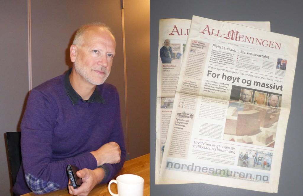 Ola B. Siverts var redaktør for lokalavisen All-meningen med nettavisen Nordnesmuren.no, som ble nedlagt i 2009.