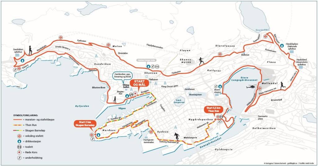 Kart fra  Bergen City Marathon.