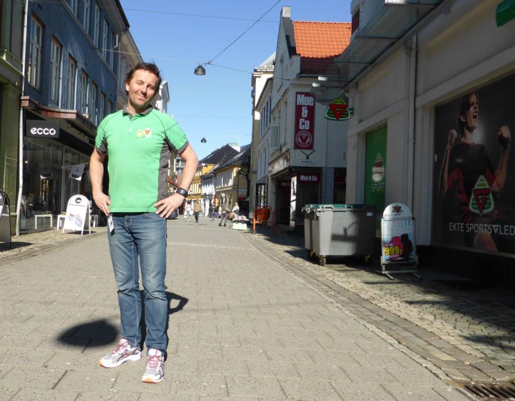 Butikksjef i G-sport, Thord Nævdal er klar for halvmarathon. Foto: Eva Johansen