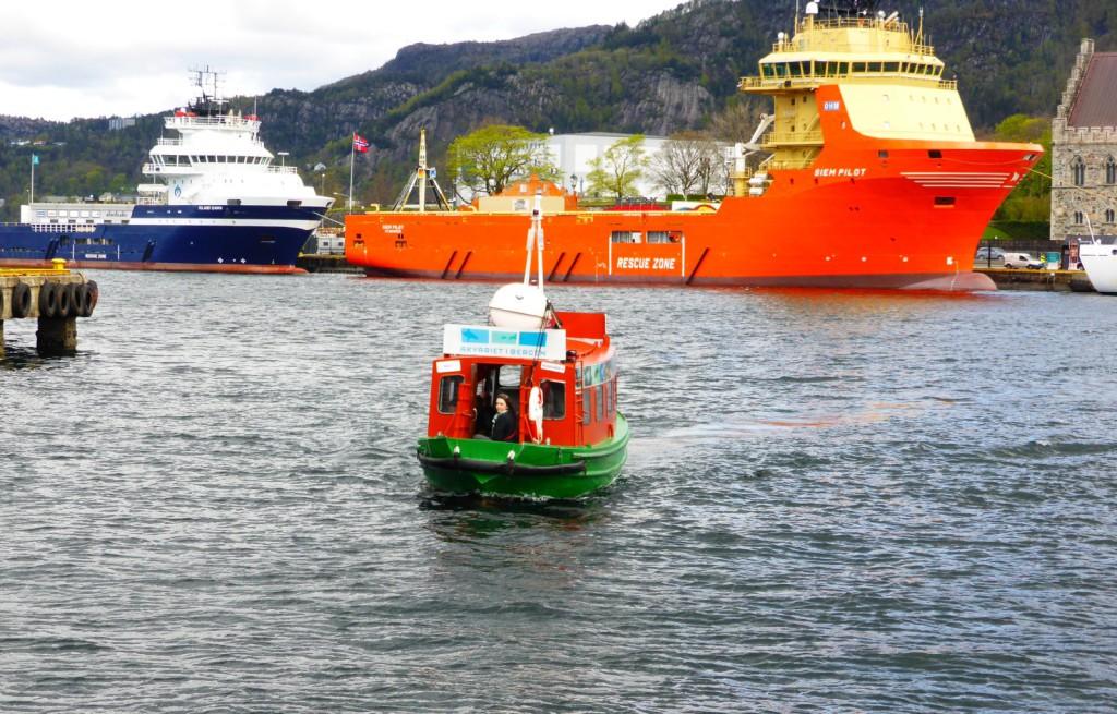 """""""Gamle"""" Beffen skal gå i ruten over Vågen til 1. juni, da får den en ny rute å gå. Foto: Eva Johansen."""
