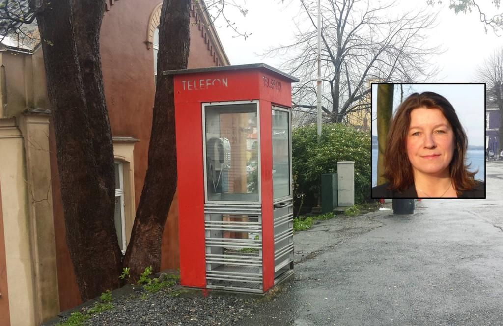 Telefonkiosken: Til glede for mange lenge, men ikke så mye brukt nå. Foto: Eva Johansen