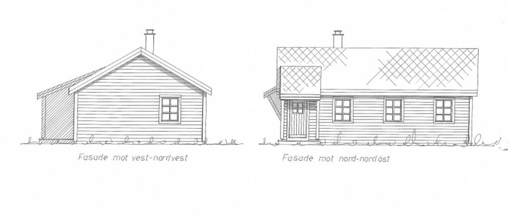 Slik blir den nye Viggo-hytten. Det blir en etasje i stedet for to som den forrige hadde. Tegning: Arkitektkontoret Eik AS.