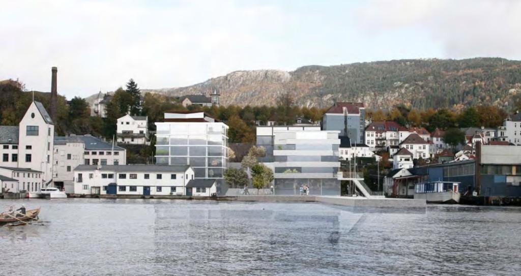 Slik kan de se ut om forslagsstillerne får det som de vil. Dette er alternativ 1. Alternativ 2 gir 11 meter høyere hus.  Grafikk: Lie Øyen Arkitekter.