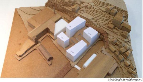 Modell for bygningene. Grafikk: Lie Øyen Arkitekter.