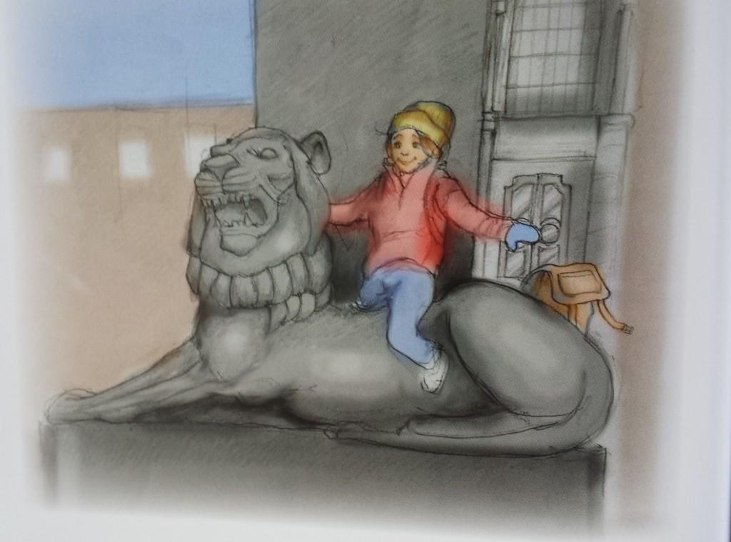 May er hovedpersonen i boken. Hun sitter ofte på løveryggen foran museet. Illustrasjon