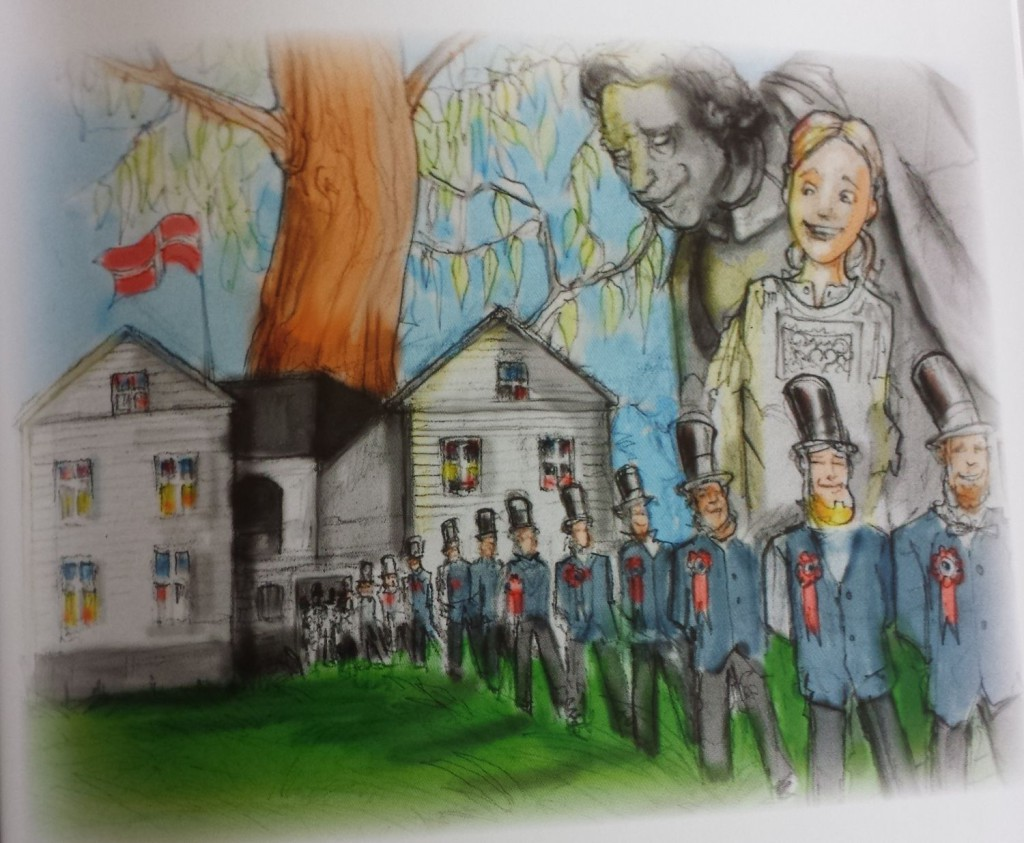 "Boken er nydelig illustrert av Viljar Vindenes Garmannslund. Her er det bursdagsfest for Norge og May i Muéhage. De 112 staselige mennene synger ""For Norge Kiæmpers fødeland."""