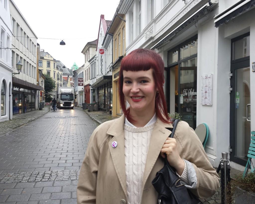Anette Basso fra Feministisk Initiativ er glad i Gågaten. Foto: Eva Johansen