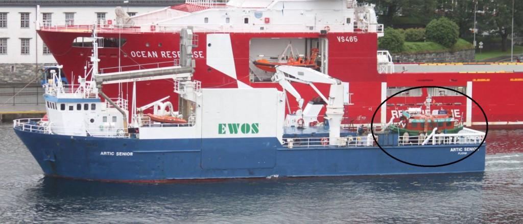 Her blir Beffen lastet ombord i Ewos. Foto: Arve Asheim