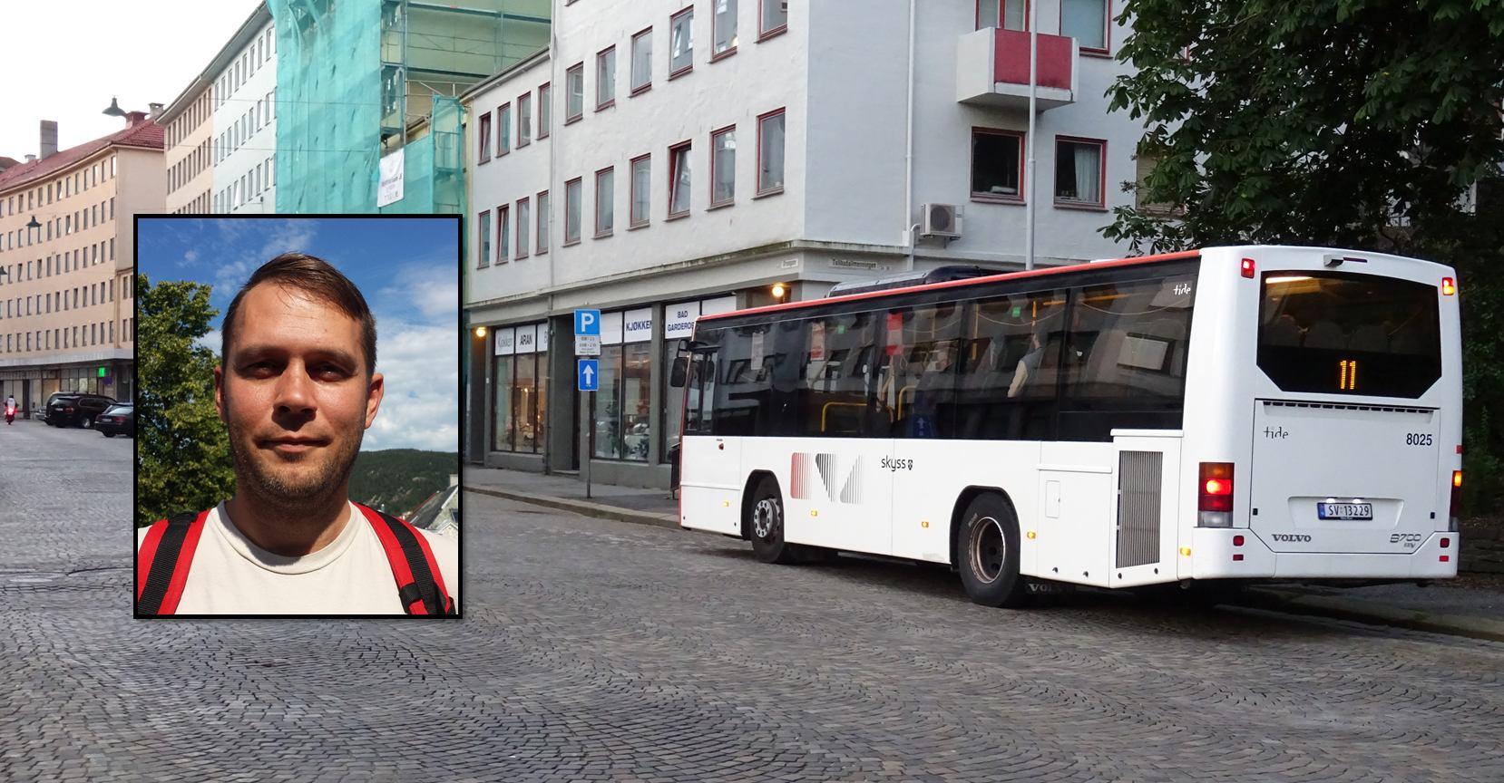 Odd Arild Viste fra Rødt mener 11-bussen går for sjelden og vil ha gratis shuttlebuss til Nordnes. Foto: Eva Johansen