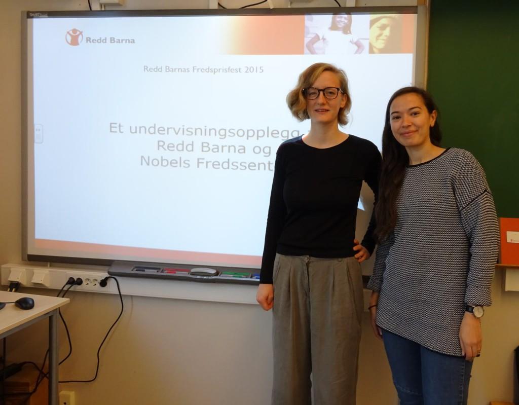 Regionskonsulent Camilla Berg og prosjektmedarbeider Nadia Lerøy Brahimi fra Redd Barna besøkte Nordnes skole. Foto: Eva Johansen