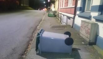 Søppelvandaler på ferde i natt