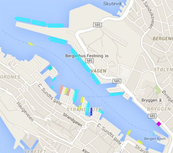 Klokken 1315 onsdag lå det syv offshorefartøy inne, hvorav en er på landstrøm. Grafikk: Marinetraffic.com.