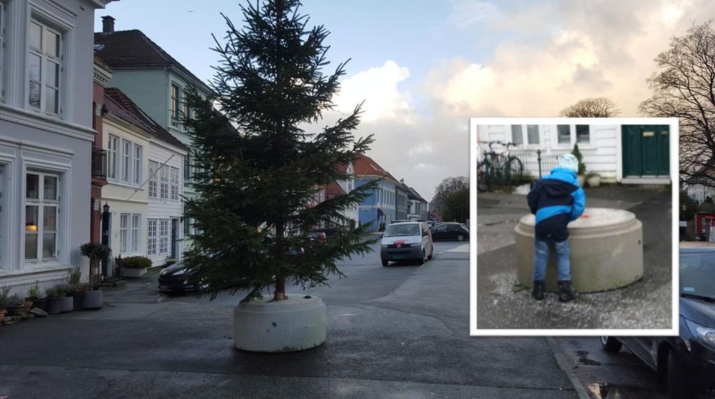 Også den lille gutten lurer på hvor det er blitt av juletreet. Foto: Nordnesrepublikken/Hanne Indrehus