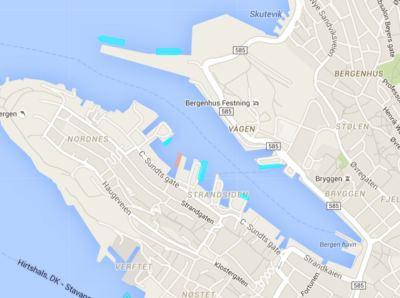 Marinetraffic.com søndag kveld. Ingen offshorefartøy er i indre havn.