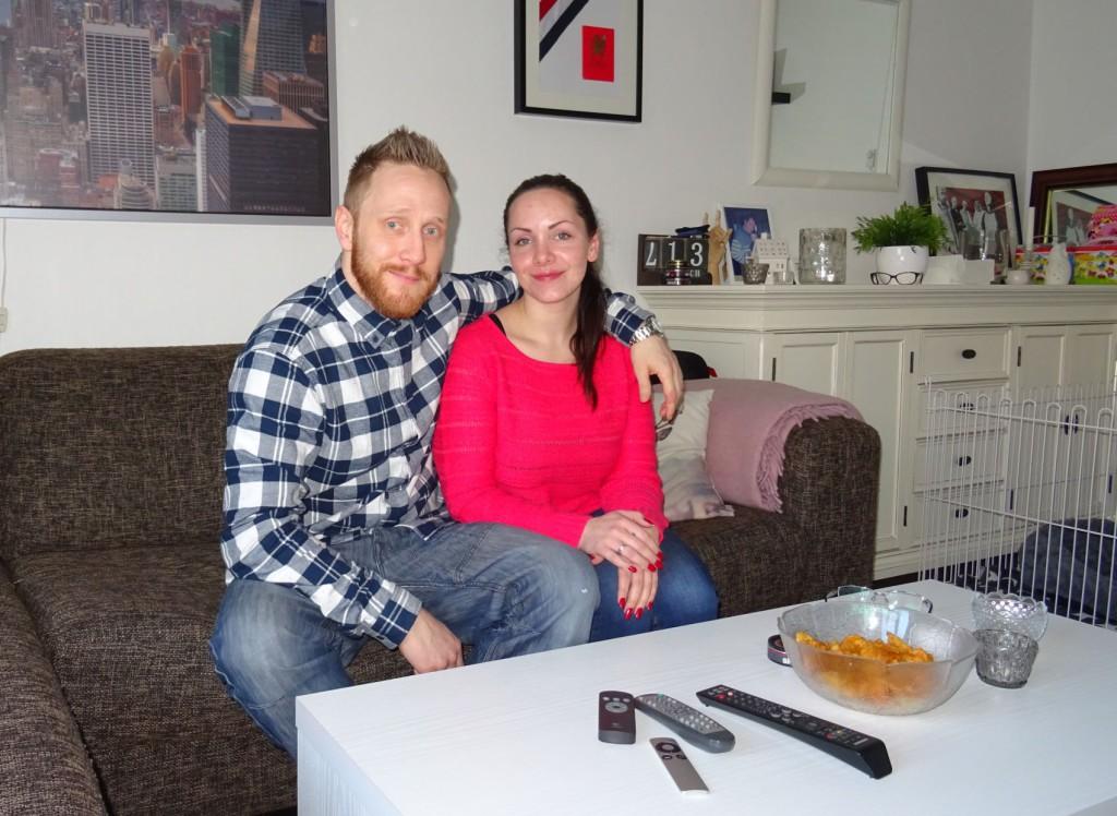 Petter (36) og Rebekka (26) har funnet roen i leiligheten ved Tollboden. Foto: Eva Johansen