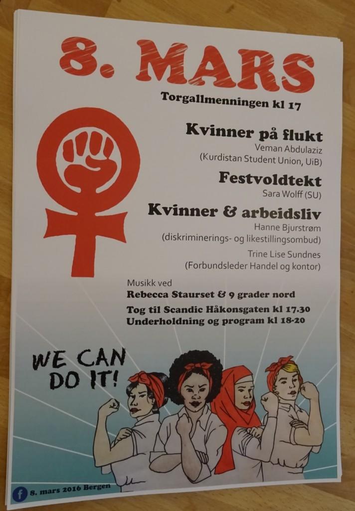Her er plakaten til 8. mars 2016 i Bergen.