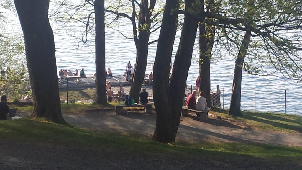 Det var mange i Nordnesparken i helgen. Her er Ballastbryggen tidlig søndag kveld. Foto: Eva Johansen