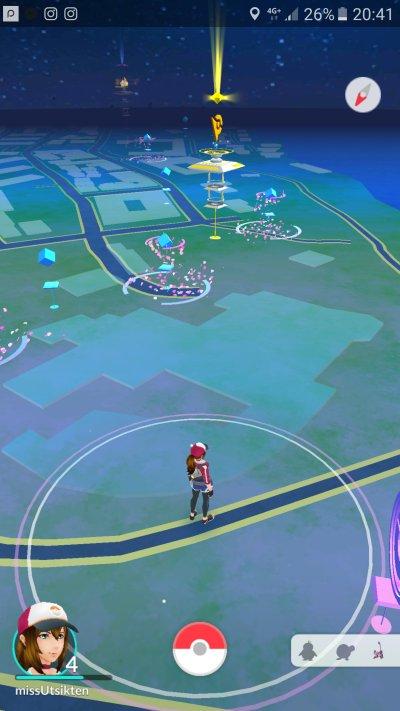 Slik ser det ut i spilllet når du står ved Nordnesparken. Screenshot Pokémon