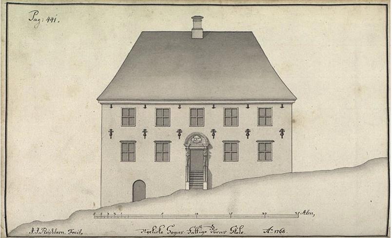 Nykirkens fattigskole, hadde tilnavnet Grønneskolen. Reichborns tegning fra 1768. Foto: Bergen byarkiv: Arkivet etter De eligerte menn, Bergen Byarkiv.