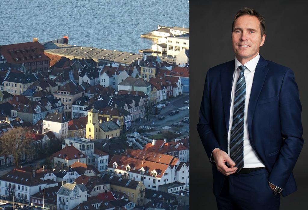 Daglig leder Asbjørn Myrstøl i Garanti Eiendomsmegler i Strandgaten. Foto: Hanne Solheim